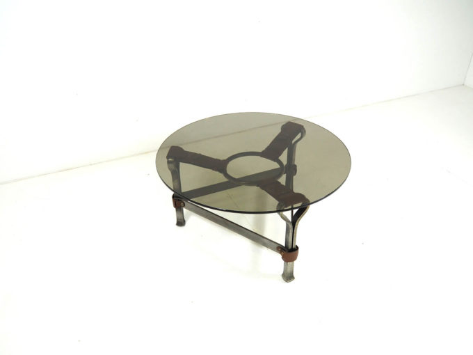 1960's brutalist coffee table by Jacques Adnet