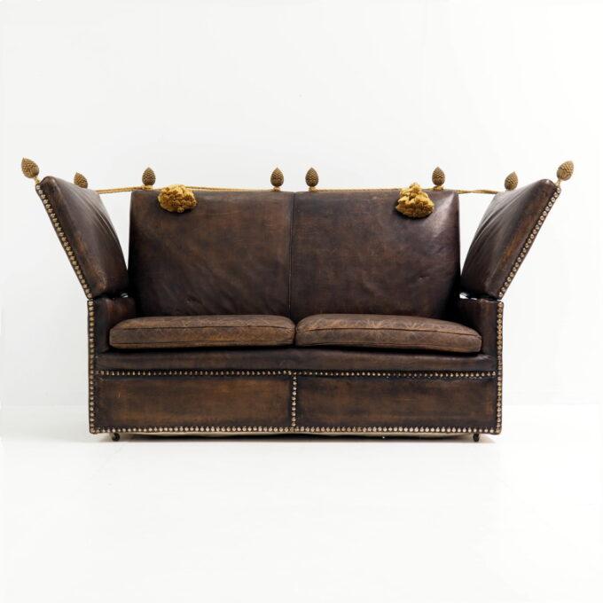 Early 20th century leather Knole Sofa